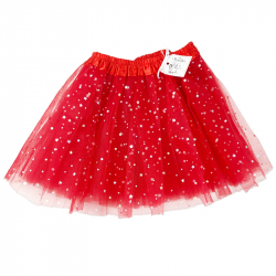 TULLE SKIRT WITH STARS - RED