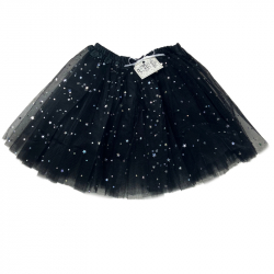 TULLE SKIRT WITH STARS - BLACK