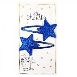 BLUE GLITTER STAR HAARSPANGEN