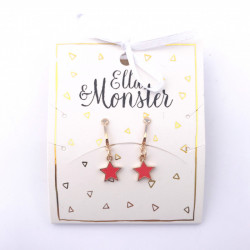 RED STAR CLIP ON EARRING